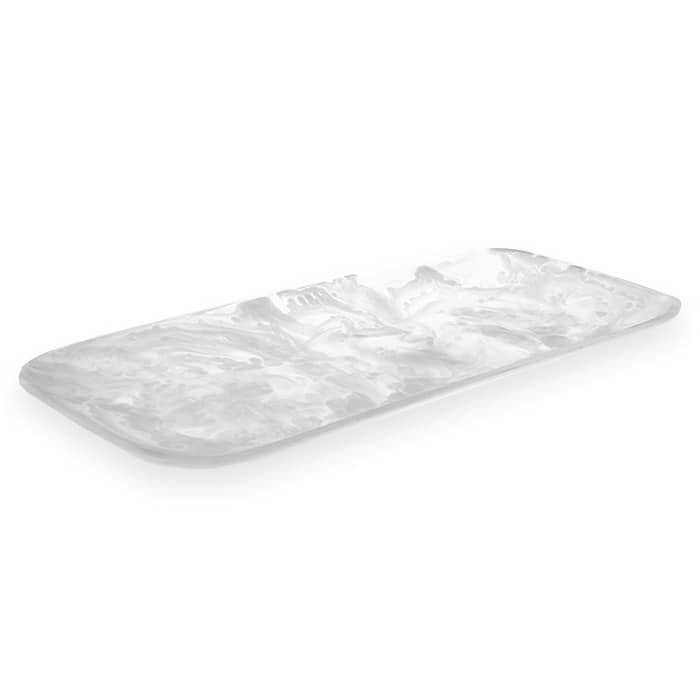 "American Metalcraft WSRT21 Rectangular Translucence Tray - 21 1/8x9 3/4"" White Swirl Resin"