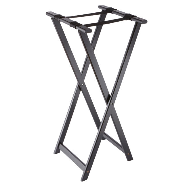 "American Metalcraft WTSB40 38"" Folding Tray Stand w/ Nylon Strap, Wood/Black"