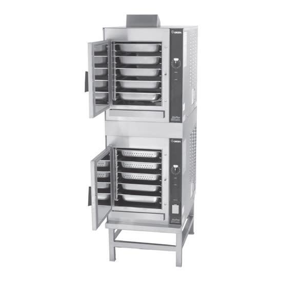 Groen (2)HY-5GF Gas Floor Model Steamer w/ (10) Full Size Pan Capacity, NG