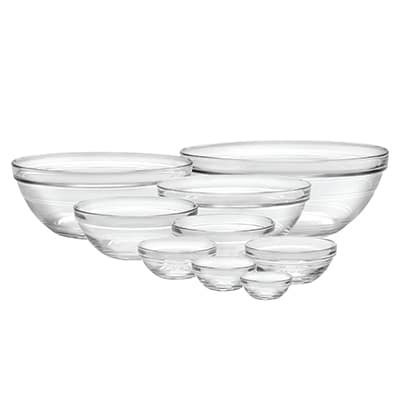 Duralex 100009 9 Piece Lys Bowl Set w/ Stackable Rim, Clear