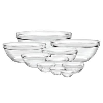 Duralex 100010 10 Piece Lys  Bowl Set w/ Stackable Rim, Clear