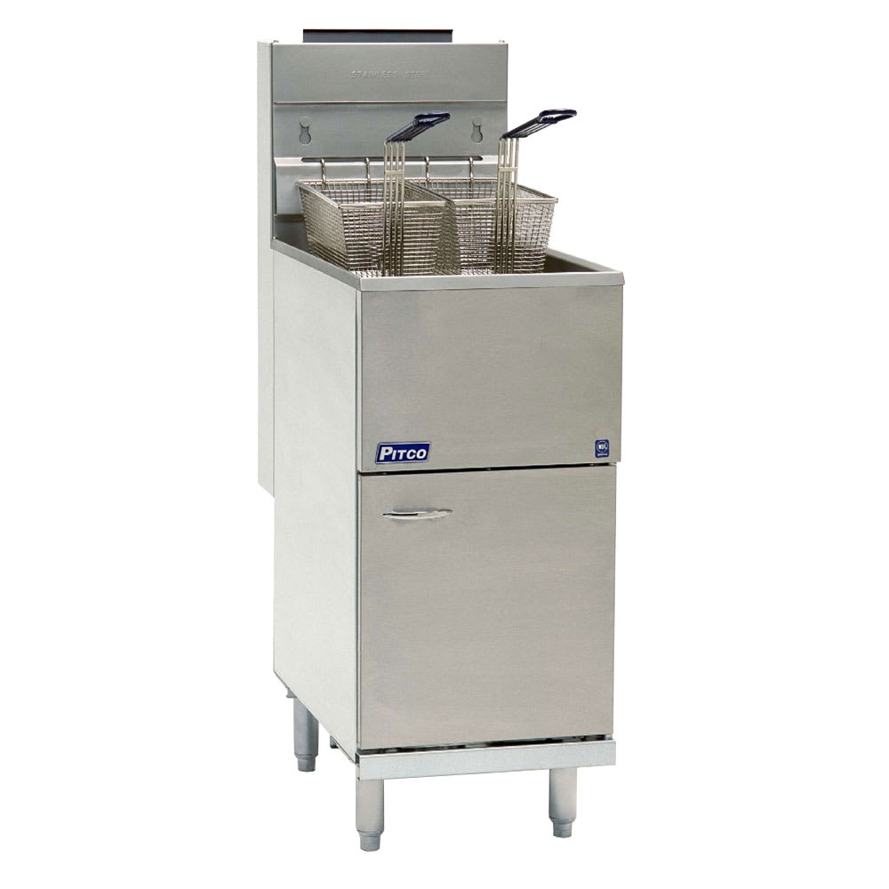 Pitco 40D Gas Fryer - (1) 45 lb Vat, Floor Model, NG