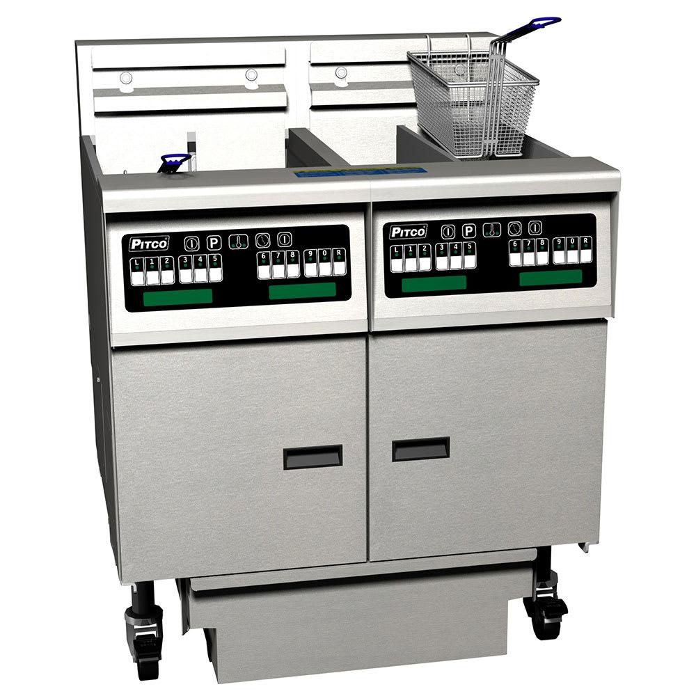 Pitco SE14X-2FD Electric Fryer - (2) 50-lb Vat, Floor Model, 208v/3ph