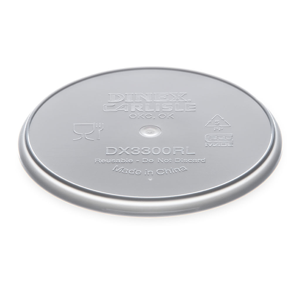 Dinex DX3300RL Reusable Flat Lid for Turnbury Bowl, Polypropylene, Gray
