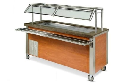 """Dinex DXDCF67 91"""" Refrigerated Cold Food Counter for (6) 12 x 20 x 9 7/16"""", 120 V"""
