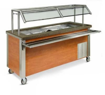 Dinex DXDHC6 6-Well Mobile Hot Cold Serving Counter w/ Wet Or Dry Operation, 120 V