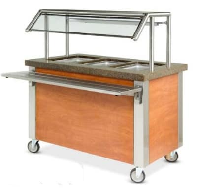 "Dinex DXDHF2 240 35"" Hot Food Counter w/ 2 Wells, Thermostatic Controls, Open Base, 240 V"