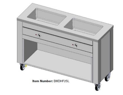 "Dinex DXDHF2SL 240 50"" Hot Food Counter w/ 2-Wells, Thermostatic Controls, Open Base, 240 V"