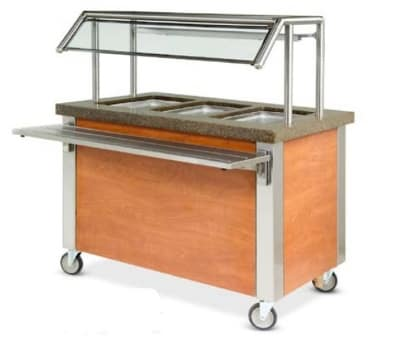 """Dinex DXDHF3 240 49"""" Hot Food Counter w/ 3 Wells, Thermostatic Controls, Open Base, 240 V"""