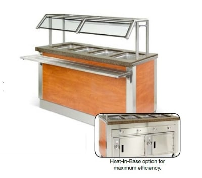 """Dinex DXDHF3HIB 49"""" Hot Food Counter w/ 3 Wells, Thermostatic, Heated Base, 208 V"""