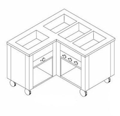 "Dinex DXDHF4LR 240 63"" Right L-Shape Hot Food Counter w/ 4 Wells, Open Base, 240 V"