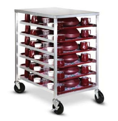 Dinex DXDHOR12U 12-Tray Cabinet Room Service Cart, Aluminum