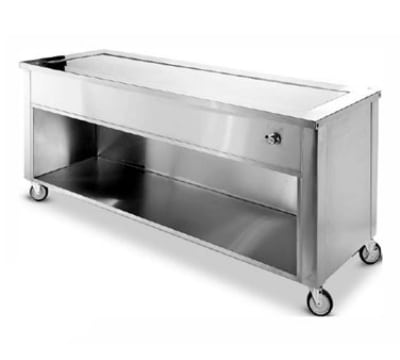 """Dinex DXDHT2 35"""" Hot Top Counter w/ 2-Well, Open Cabinet, Stainless, 120 V"""