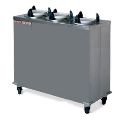 "Dinex DXIDPH3E1200 12.25"" Mobile Enclosed Heated Plate Dispenser w/ 3 Tube Frame"