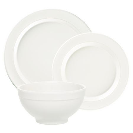 "Emile Henry 1188073 Dinnerware Set w/ 6"" Cereal Bowl, 8"" Salad Plate & 11"" Dinner Plate, Flour"