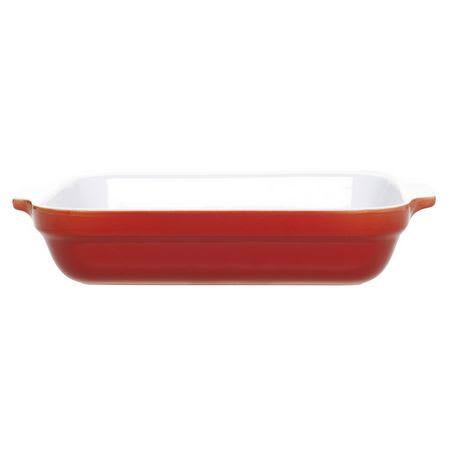 Emile Henry 339630 2-1/2 qt Ceramic Lasagna Dish, 12 x 8-1/2 in, Two-Tone, Cerise Red