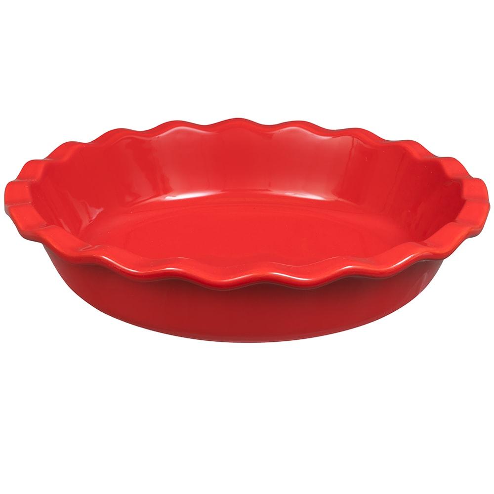 "Emile Henry 346131 9"" Round Ceramic Pie Dish w/ 1.4-qt Capacity, Burgundy"