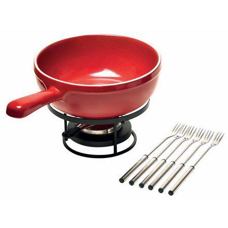Emile Henry 349922 Cheese Fondue Set w/ 2.6-qt Pot, Burner, Stand & (6) Forks, Burgundy