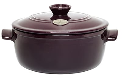 Emile Henry 374570 7 qt Ceramic Flame Top Round Stew Pot With Lid, Figue Purple
