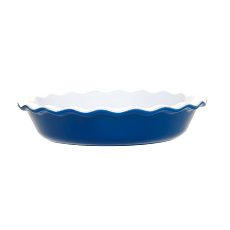 Emile Henry 536131 1-2/5 qt Ceramic Pie Dish, 9 in Diameter, Two-Tone, Azure Blue