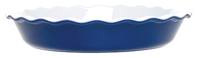 Emile Henry 536161 EA Ceramic Pie Dish, 12-in Round, Two-Tone, Azure Blue