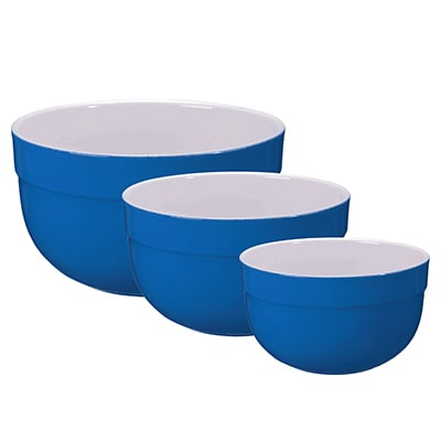 Emile Henry 536529/3 Ceramic Mixing Bowl Set, Includes Three Sizes, Two-Tone, Azure Blue