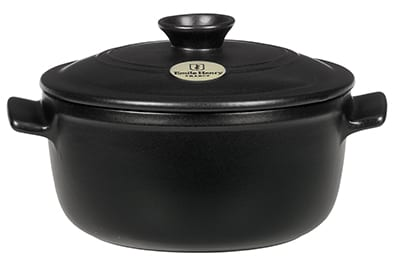 Emile Henry 714525 2-3/5 qt Ceramic Flame Top Round Stew Pot With Lid, Black