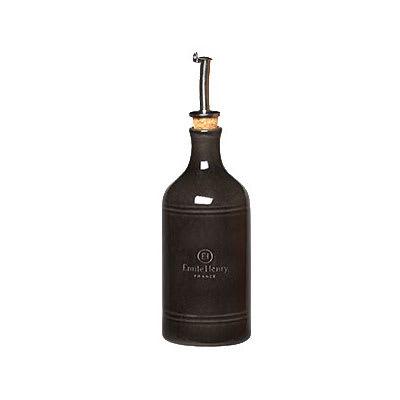 "Emile Henry 790215 7"" Ceramic Oil Cruet w/ 14 oz Capacity, Charcoal"