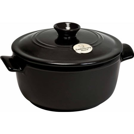"""Emile Henry 794525 9"""" Round Ceramic Stewpot w/ 2.6 qt Capacity, Lid, Charcoal"""