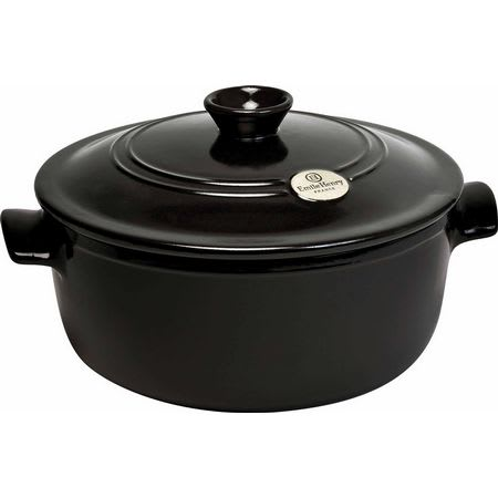 "Emile Henry 794553 11.2"" Round Ceramic Stewpot w/ 5.5-qt Capacity, Lid, Charcoal"