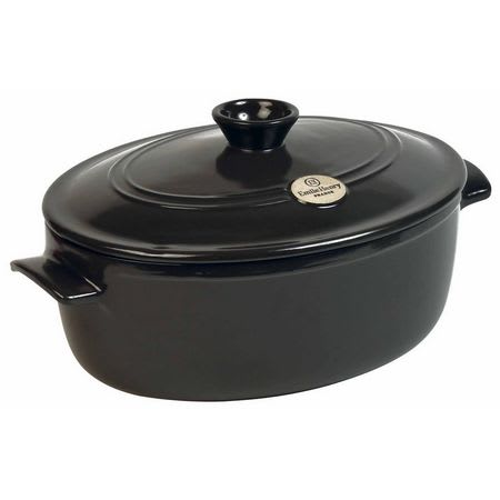 "Emile Henry 794560 13.2"" Oval Ceramic Stewpot w/ 6.3-qt Capacity, Lid, Charcoal"