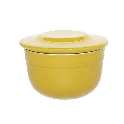 "Emile Henry 858621 4"" Round Ceramic Butter Pot w/ 7 oz Capacity, Leaves"