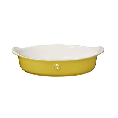 "Emile Henry 859022 12"" Oval Ceramic Baking Dish w/ 2.7 qt Capacity, Leaves"