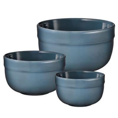 Emile Henry 976529/3 Mixing Bowl Set - (1) 1.7-qt, (1) 3.3-qt & (1) 5.8-qt Bowl, Blue Flame