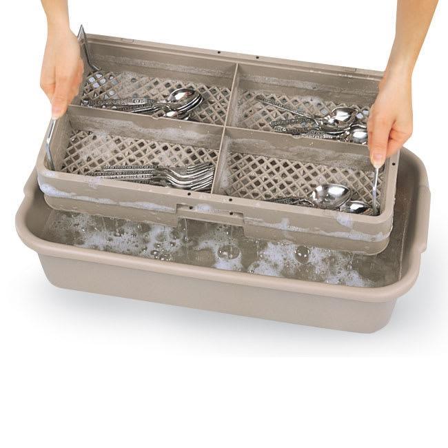 Vollrath 1303 Dishwasher Rack For Flatware - Handles, 4-Compartment, Beige