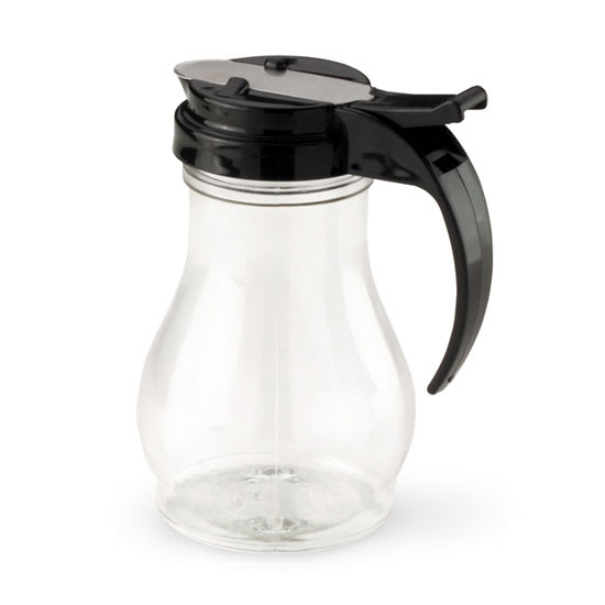 Vollrath 1412-06 10-oz Syrup Server - Black Plastic Cap, Poly, Clear