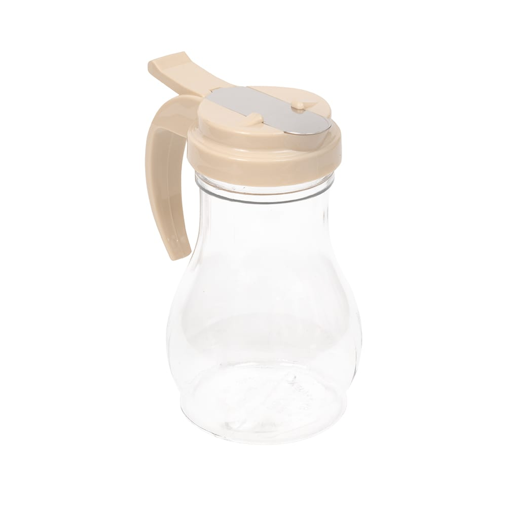 Vollrath 1412-18 10 oz Syrup Server - Almond Plastic Cap, Poly, Clear