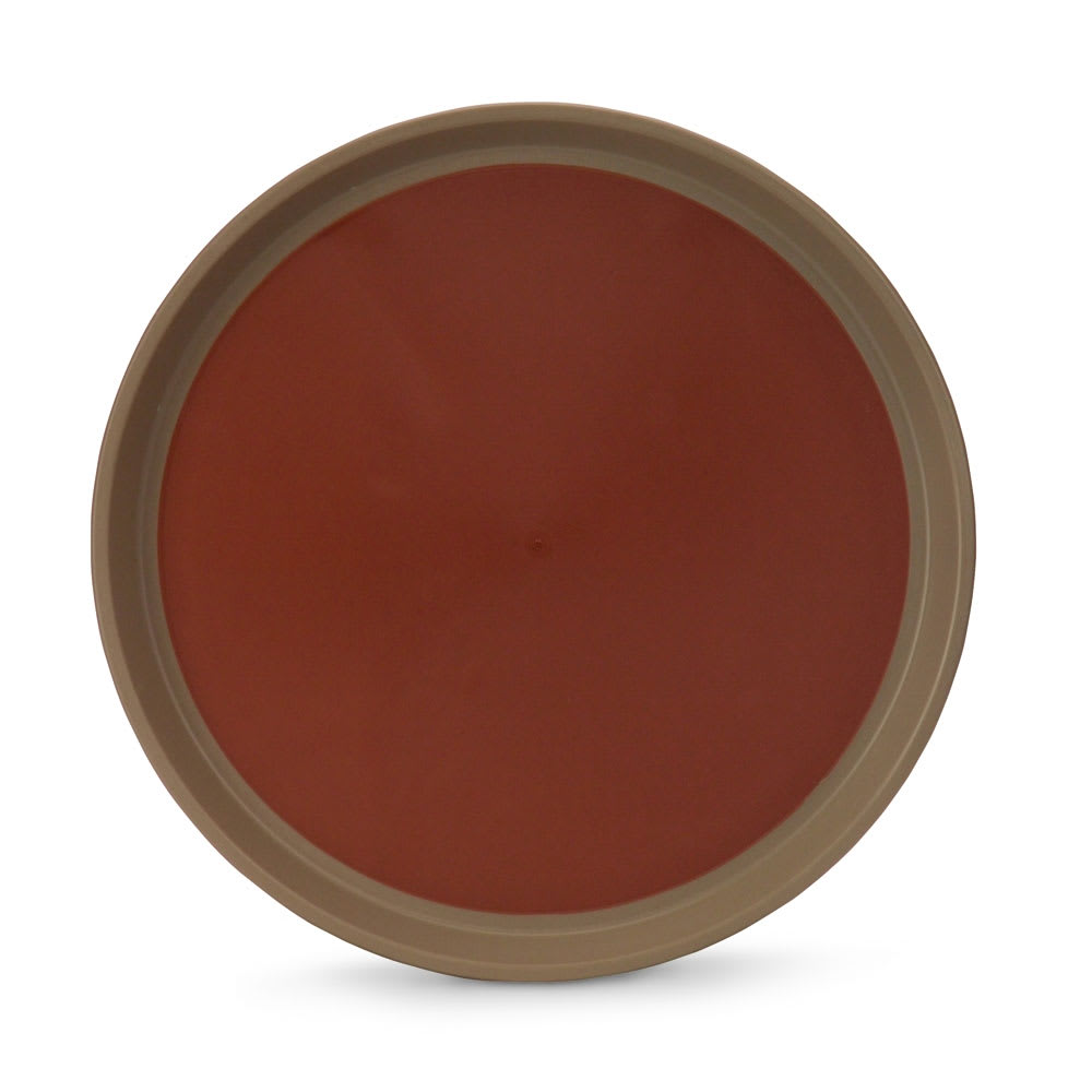 """Vollrath 1476-0901 16"""" Round Serving Tray - Reinforced Plastic, Brown/Tan"""