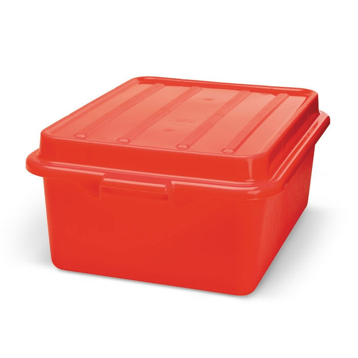 "Vollrath 1507-C02 Food Storage Drain Box - With Cover and Drain, 15x20x7"", Red"