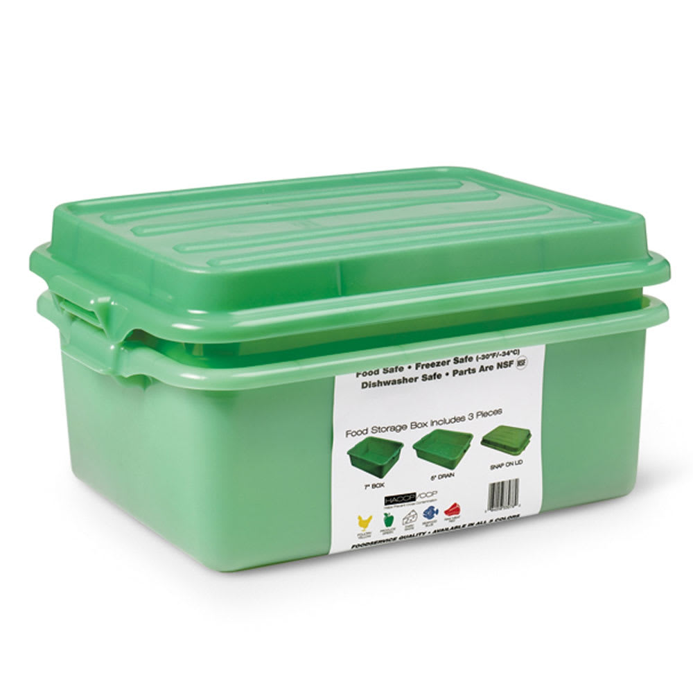 "Vollrath 1535BRS6-C19 Food Storage Box Combo - 5"" Drain, 7"" Box, Snap-On Lid, Green"