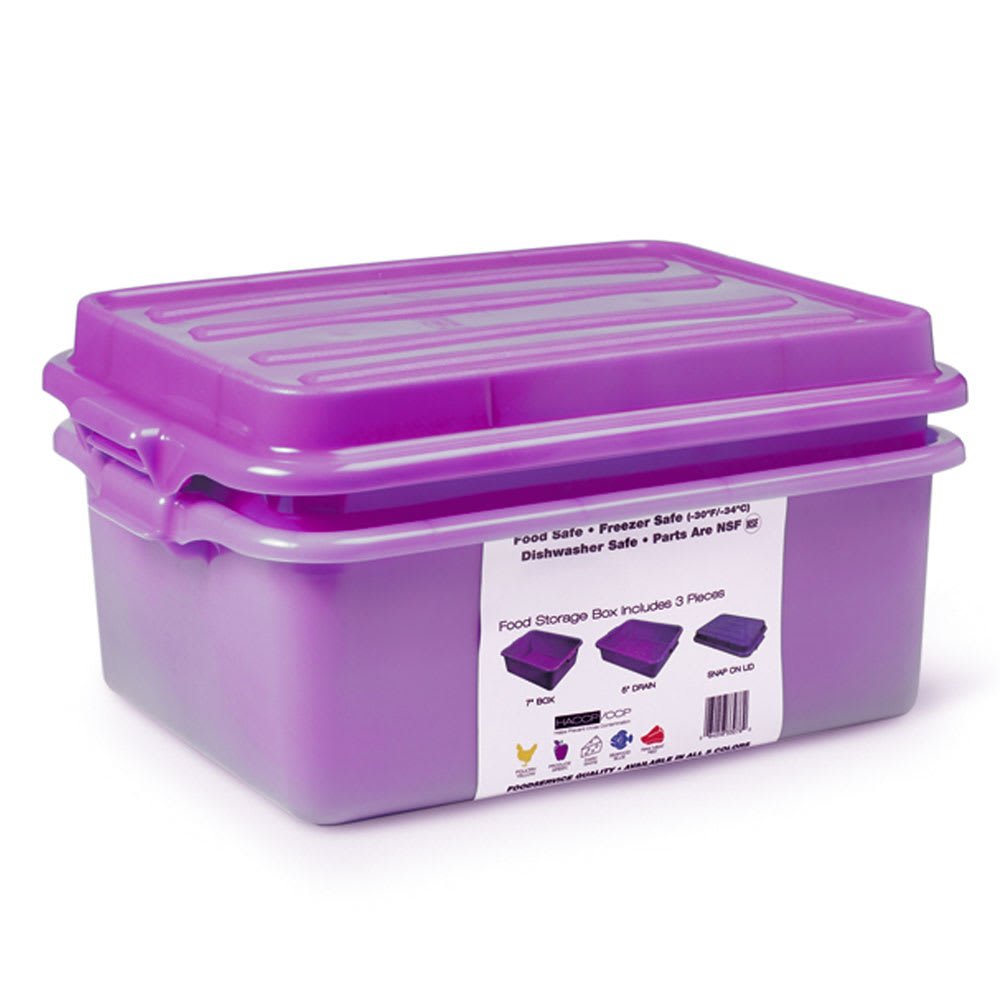 "Vollrath 1535BRS6-C80  Food Storage Box Combo - 5"" Drain, 7"" Box, Snap-On Lid,  Purple"
