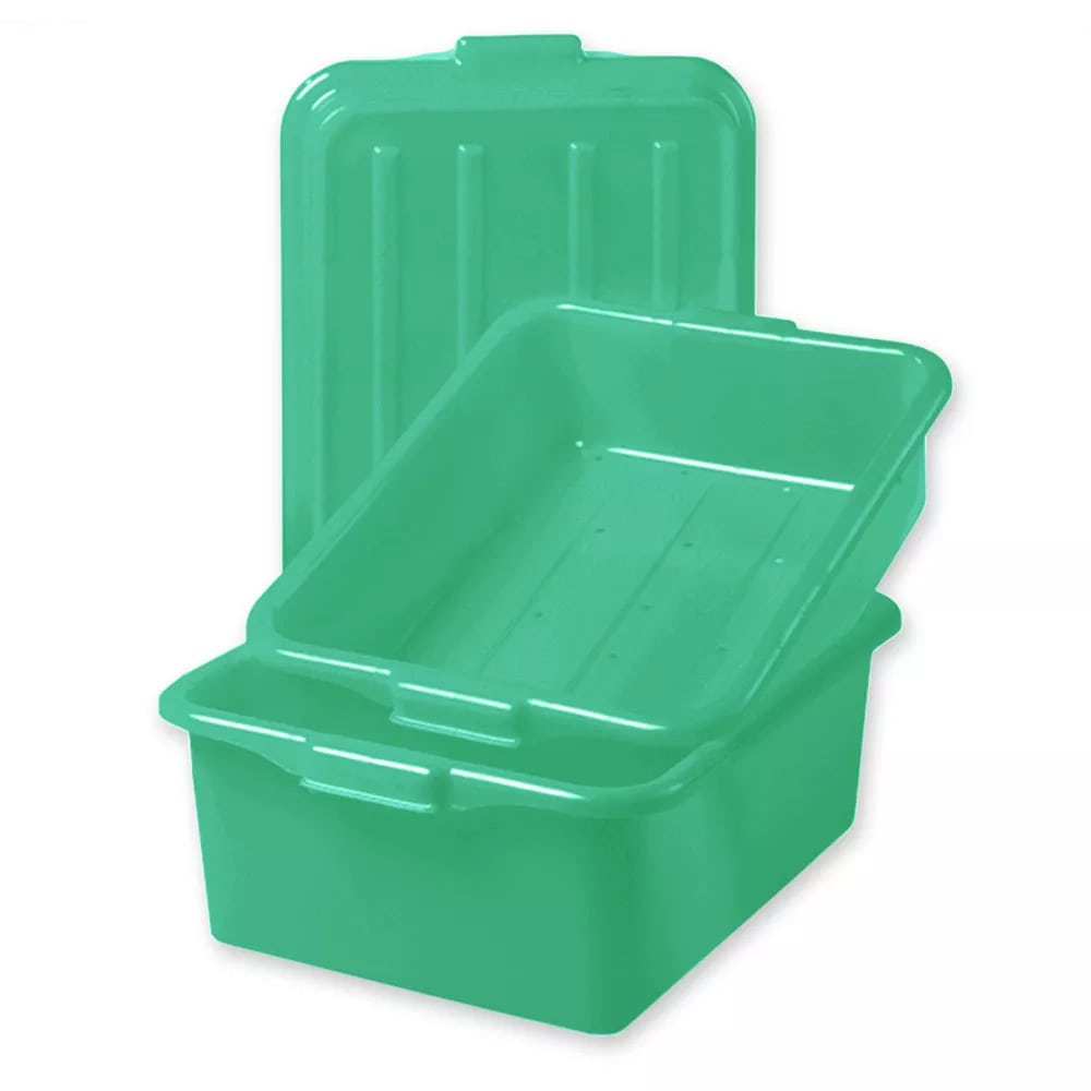 "Vollrath 1535-C19 Food Storage Box Combo - 5"" Drain, 7"" Box, Snap-On Lid, Green"