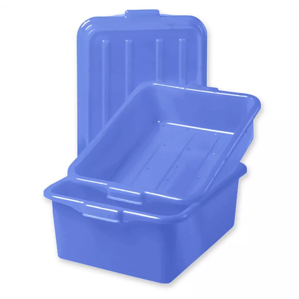 "Vollrath 1551-C04 Combo Food Storage Box - 5"" Drain, 7"" Box,  Snap-On Lid, Blue"