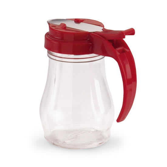 Vollrath 1606-02 7 oz Dripcut Server, Clear Poly Jar w/ Red Plastic Top