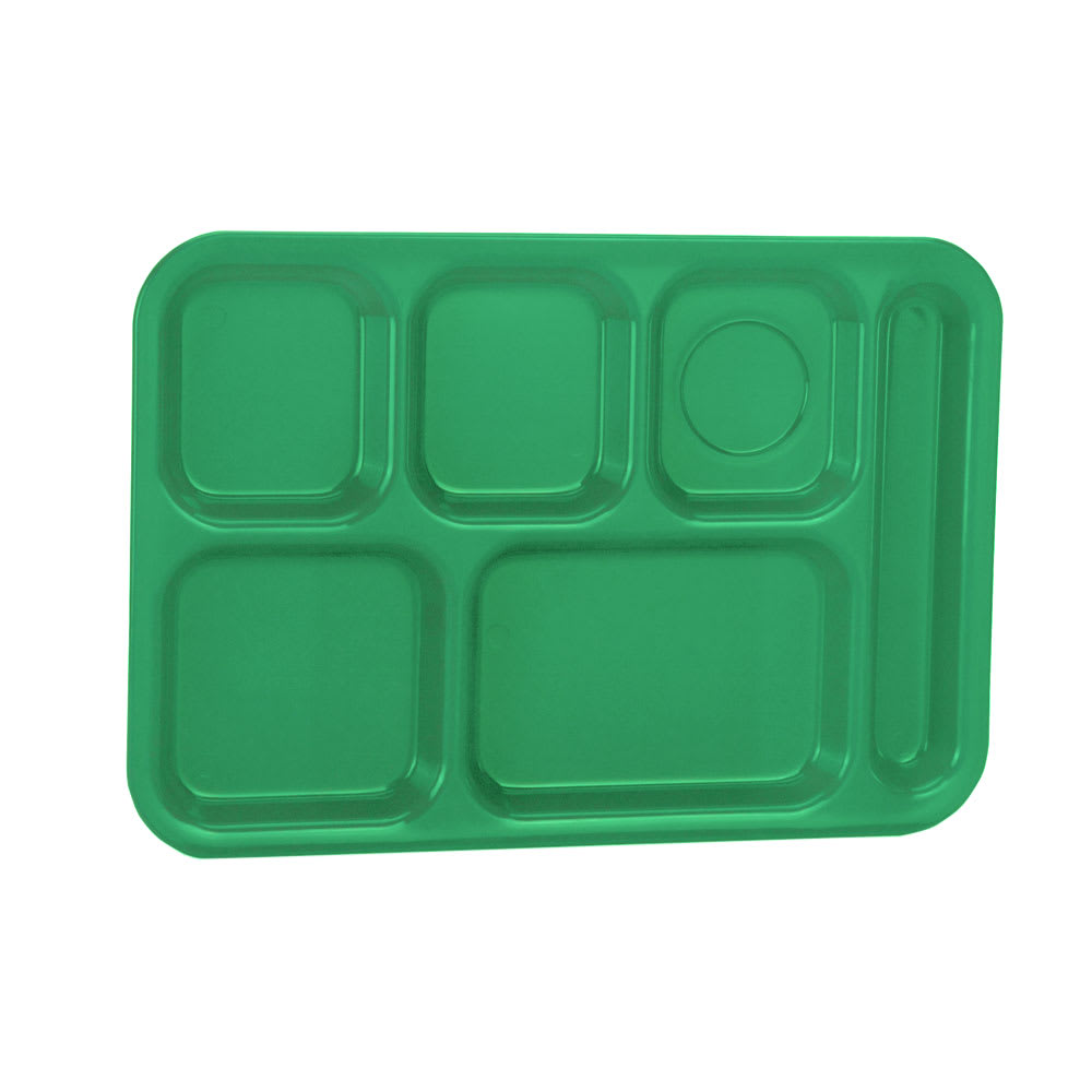 """Vollrath 2015-119 School Compartment Tray - Right Hand, 9 7/8x14 3/4"""", Green"""