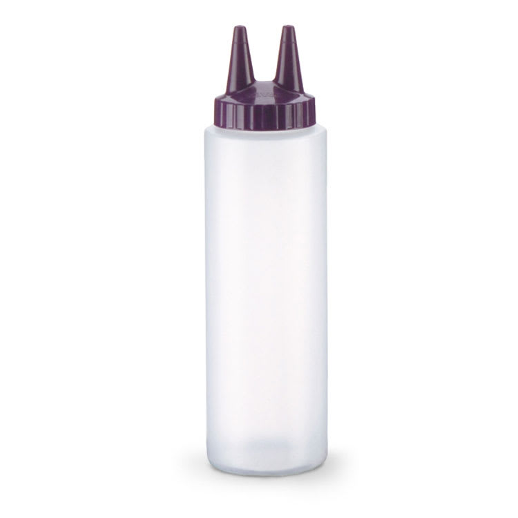 Vollrath 2208-1354 8 oz Twin Tip Squeeze Bottle - Clear with Purple Cap