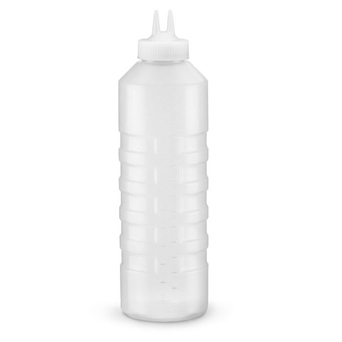 Vollrath 2232-13 32-oz Twin Tip Squeeze Bottle - Clear with Clear Cap