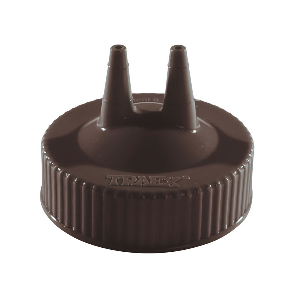 Vollrath 2300-01 Twin Tip Squeeze Bottle Cap w/ Wide Mouth, Fits 16 32 oz, Brown