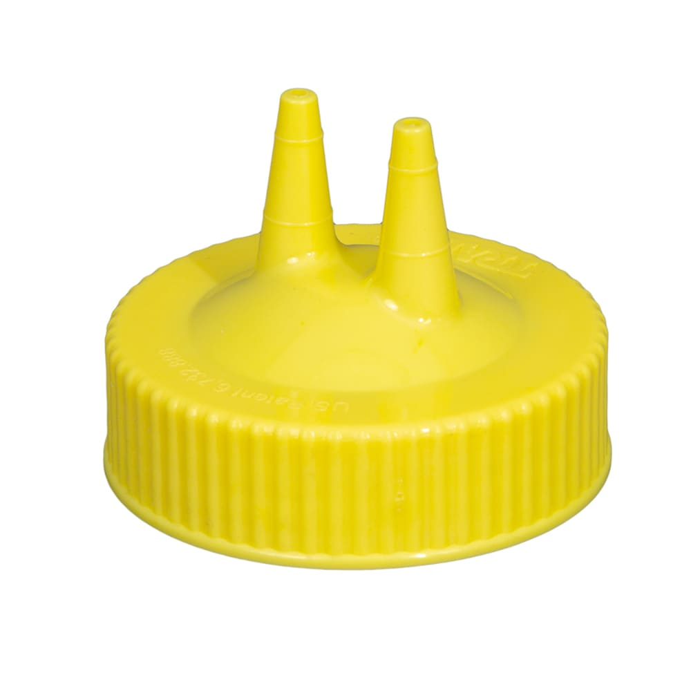 Vollrath 2300-08 Twin Tip Squeeze Bottle Replacement Cap - Wide Mouth, 16 32 oz, Yellow