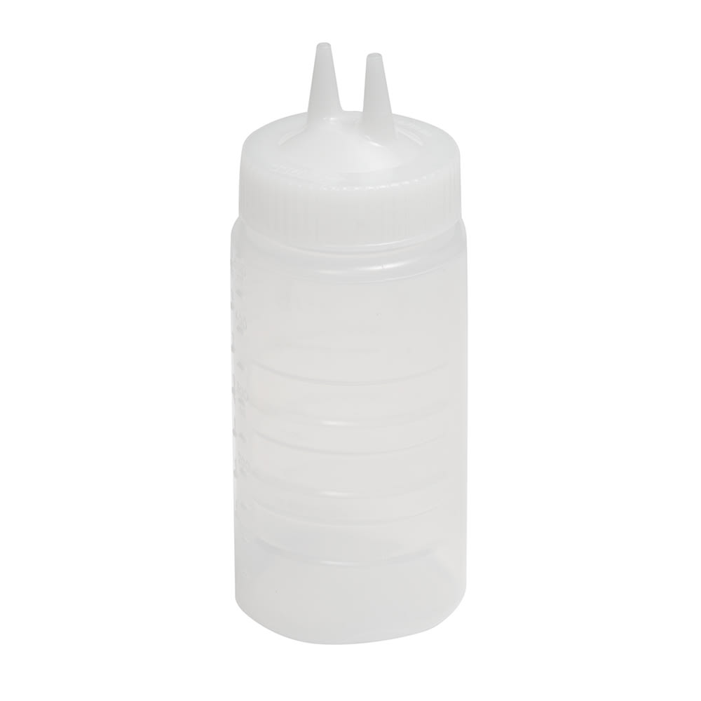 Vollrath 2316-13 16 oz Twin Tip Squeeze Bottle - Wide Mouth, Clear